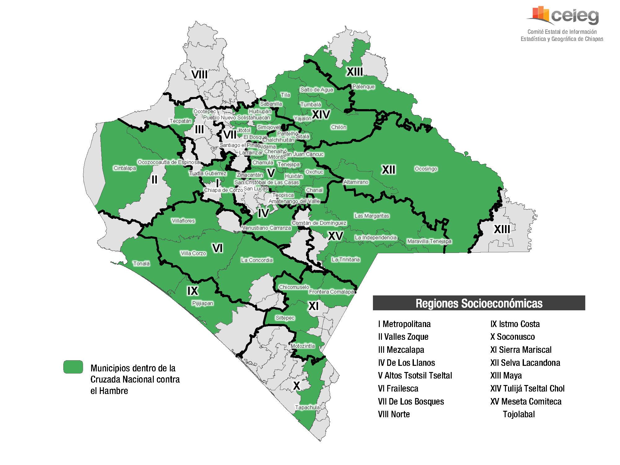 Municipios de Chiapas en la Cruzada Nacional contra el Hambre